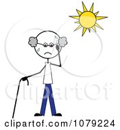 Clipart Senior Stick Man Sweating In The Sun Royalty Free Vector Illustration