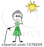 Clipart Senior Stick Woman Sweating In The Sun Royalty Free Vector Illustration