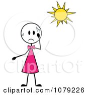 Clipart Stick Girl Sweating In The Sun Royalty Free Vector Illustration