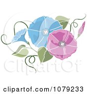 Clipart Pink And Blue Morning Glory Flowers Royalty Free Vector Illustration