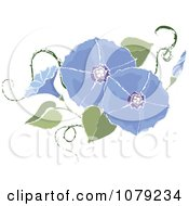 Clipart Purple Morning Glory Flowers Royalty Free Vector Illustration