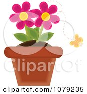 Clipart Yellow Butterfly And Pink Potted Daisies Royalty Free Vector Illustration