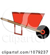 Clipart Orange Wheelbarrow Royalty Free Vector Illustration