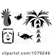 Clipart Set Of Black And White Tropical Items Royalty Free Vector Illustration by bpearth