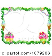 Clipart Cupcake Ice Cream And Floral Border Royalty Free Vector Illustration by bpearth