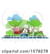 Clipart 3d Ivory Kids Fishing In A Camping Pop Up Story Book Royalty Free CGI Illustration