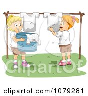 Clipart Summer Camp Boys Hanging Laundry To Dry Royalty Free Vector Illustration