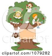 Clipart Summer Camp Kids Playing In An Apple Tree With A Blank Sign Royalty Free Vector Illustration