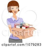 Clipart Brunette Woman Carrying A Box Of Books Royalty Free Vector Illustration