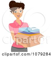Clipart Brunette Woman Carrying A Box Of Clothes Royalty Free Vector Illustration