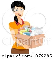 Clipart Brunette Woman Carrying A Box Of Food Royalty Free Vector Illustration