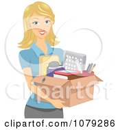 Clipart Blond Woman Carrying A Box Of Office Supplies Royalty Free Vector Illustration