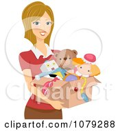Clipart Brunette Woman Carrying A Box Of Toys Royalty Free Vector Illustration