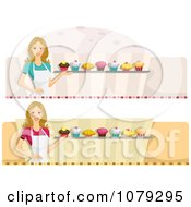 Clipart Set Of Female Cupcake Baker Website Banners Royalty Free Vector Illustration