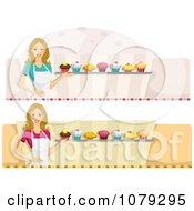 Clipart Set Of Female Cupcake Baker Website Banners Royalty Free Vector Illustration