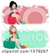 Clipart Set Of Retro Pinup Knitting Woman Website Banners Royalty Free Vector Illustration