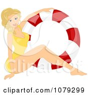 Clipart Blond Pinup Woman In A Swimsuit By A Life Buoy Royalty Free Vector Illustration