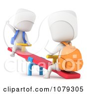 Clipart 3d Ivory School Kids Playing On A See Saw Royalty Free CGI Illustration