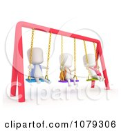 Clipart 3d Ivory School Kids Playing On Swings Royalty Free CGI Illustration by BNP Design Studio