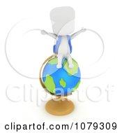 Clipart 3d Ivory School Boy Sitting On A Desk Globe Royalty Free CGI Illustration