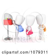 Clipart 3d Ivory School Kids In Line At A Gum Ball Machine Royalty Free CGI Illustration