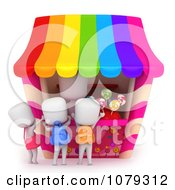 Clipart 3d Ivory School Kids Buying Candy Royalty Free CGI Illustration