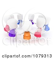 Clipart 3d Ivory School Kids Holding Hands In A Circle Royalty Free CGI Illustration