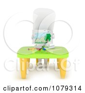 Clipart 3d Ivory School Boy Showing His Drawing Royalty Free CGI Illustration