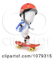 Clipart 3d Ivory School Boy Skateboarding Royalty Free CGI Illustration