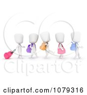 Clipart 3d Ivory School Kids Walking In Line Royalty Free CGI Illustration