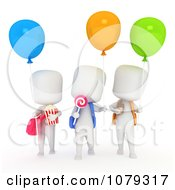 Clipart 3d Ivory School Kids With Snacks And Balloons Royalty Free CGI Illustration