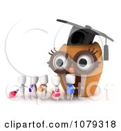 Clipart 3d Ivory School Kids Walking To An Owl School Royalty Free CGI Illustration