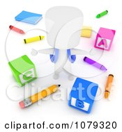 Clipart 3d Ivory School Boy With Blocks Crayons And Pencils Royalty Free CGI Illustration