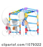 Clipart 3d Ivory School Kids Playing On The Monkey Bars Royalty Free CGI Illustration