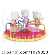 Clipart 3d Ivory School Kids Playing On A Merry Go Round Royalty Free CGI Illustration