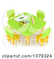 Clipart 3d School Table In An Art Class Royalty Free CGI Illustration