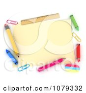 Clipart 3d Memo With School Supplies Royalty Free CGI Illustration
