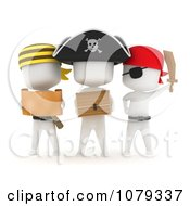 Clipart 3d Ivory Pirate Kids With A Treasure Chest And Map Royalty Free CGI Illustration by BNP Design Studio