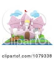 Clipart 3d Ivory Kids In A Pop Up Castle Story Book Royalty Free CGI Illustration