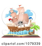 Clipart 3d Ivory People In A Pop Up Pirate Story Book Royalty Free CGI Illustration