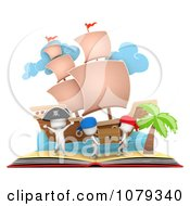 Clipart 3d Ivory People In A Pop Up Pirate Treasure Story Book Royalty Free CGI Illustration