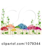 Clipart Colorful Mushroom And Vine Border Royalty Free Vector Illustration by BNP Design Studio