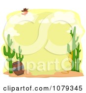 Clipart Cactus And Desert Frame With A Bird On A Cloud Royalty Free Vector Illustration