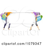 Clipart Shopping Women Holding Up A Banner Royalty Free Vector Illustration