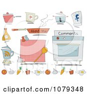 Set Of Cartoon Cooking Website Icons