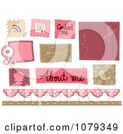 Clipart Set Of Stitched Sewing Website Icons Royalty Free Vector Illustration