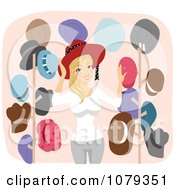 Clipart Blond Woman With Her Collection Of Hats Royalty Free Vector Illustration
