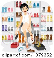 Clipart Woman Trying On Shoes In A Store Royalty Free Vector Illustration