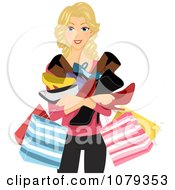 Clipart Blond Woman Holding Shopping Bags And Shoes Royalty Free Vector Illustration