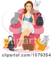 Clipart Cat Lady Sitting And Surrounded By Her Pets Royalty Free Vector Illustration